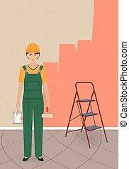 קסדה, אישה, צבע, צבע, אופי, יכול, מדים, מוט גלילי, קיר, רקע., צייר, באופן חלקי