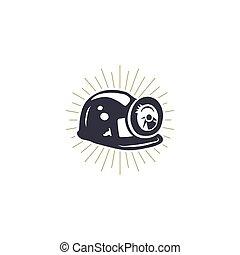 קסדה, חפור, צללית, illustration., אור, brackets., כורה, שלי, סמל., built-in, וקטור, ראטרו, אופנתי, בצבע אחד, מתכת, איקון