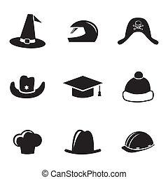 קסדה, קבע, איקונים, וקטור, כובע שחור