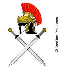 קסדה, רומאי, חרבות
