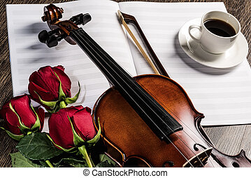קפה, ספרים, מוסיקה, כינור, עלה