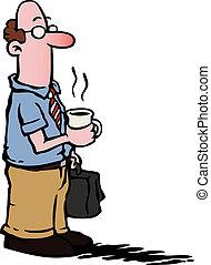 קפה, עסק, /, עובד, בעל, איש