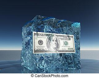 קפוא, חשבן, דולר, קרח, מאה