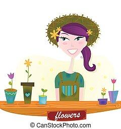 קפוץ, אישה, פרחים, גן