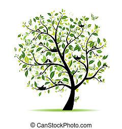 קפוץ, עץ, שלך, ירוק, עצב, צפרים