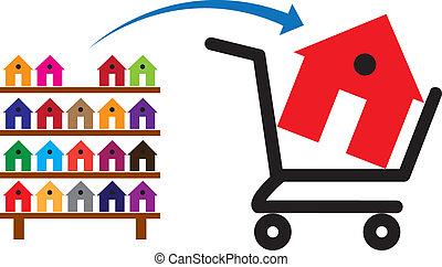 קרונית, ניתן להשיג, מושג, קניות, צבעוני, הראה בית, סמלי, זה, רשום, sale., בתים, קנה, מעונים, תכונה, או, לקנות