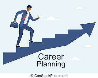 , קריירה, איש, סולם, לטפס