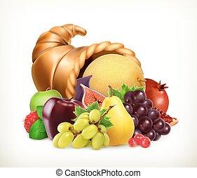 קרן, cornucopia., fruits., plenty., אסף, וקטור, איקון, 3d
