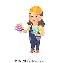 קשה, וקטור, לוח צבעים, חמוד, קטן, אופי, קבלן, סרבל, צבע של צייר, כלים, בניה, כחול, סיגנון, ילדה, דוגמה, לבה, כובע, ציור היתולי