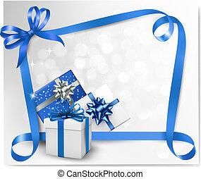 קשות, כחול, ribbons., רקע, חופשה, מתנה, וקטור, illustration.