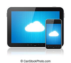 קשר, מודרני, ענן, מכשירים, לחשב