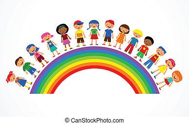 קשת, וקטור, ילדים, דוגמה, צבעוני