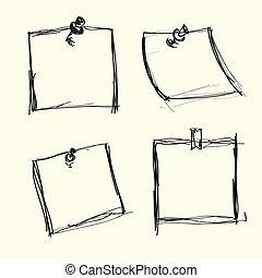 ראה, נעצים, ניירות, צייר, העבר