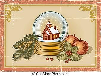 ראטרו, כרטיס, חג המולד