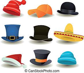 ראש קובע, כובעים, הציין, אחר, לבש, כובעים