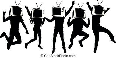 ראש קובע, צללית, אנשים, טלויזיה, instead