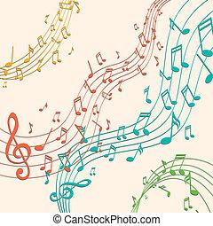 רואה, וקטור, מוסיקה, רקע, צבעוני