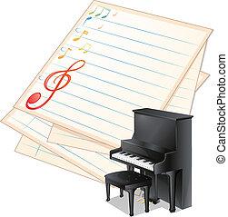 רואה, ליד, נייר, פסנתר, מוסיקלי, ריק