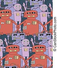 רובוטים, pattern., seamless, ציור היתולי