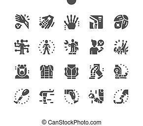 רובוטי, פשוט, system., icons., nano, סולידי, arm., שלוט, תותבות, המצאה, וקטור, bioengineering., technology., עתיד, prosthesis., פיכטוגראם, chip.
