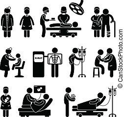 רופא, אחות של כירורגיה, בית חולים