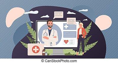 רופא, להתייעץ עם, חולה, אונליין