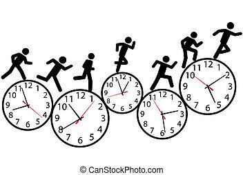 רוץ, רוץ, אנשים, סמל, clocks, זמן