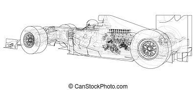 רוץ, eps10, יצור, drawing., תקציר, wire-frame., וקטור, מכונית., 3d., האץ, format.