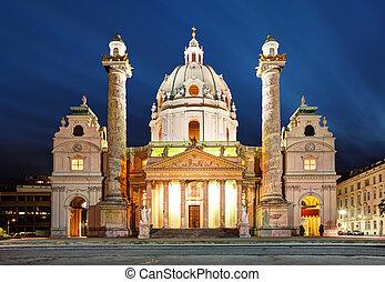 רחוב., כנסייה, -, אוסטריה, charles's, לילה, ויאנה