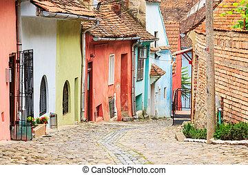 רחוב, של ימי הביניים, הוקם, colonists, sighisoara, saxon, הבט