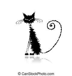 רטוב, חתול, שחור, שלך, עצב, מצחיק