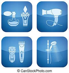 ריבוע, איקונים, bathroo, קובלט, 2d, set: