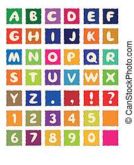 ריבוע, צבע, אלפבית, אי.בי.סי, נייר, פונט, ציור היתולי