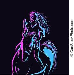 רכוב, קנטאקי, צללית, אליפות, דירה, derby., horse., קונצפטואלי, דוגמה, אומנות, נאון, אישה