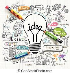 רעיונות, נורה, doodles, איקונים, set., מושג