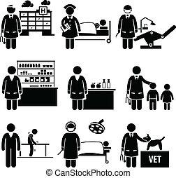 רפואי, עבודות, בית חולים, שירותי בריות