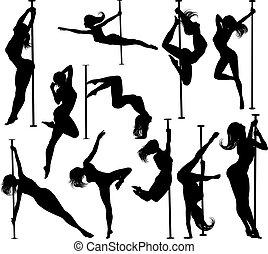 רקדן, צלליות, נשים, קבע, קוטב