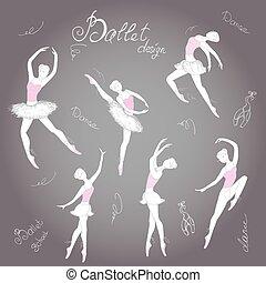 רקדנים, בלט, קבע, illustration., העבר, רקע, וקטור, צייר