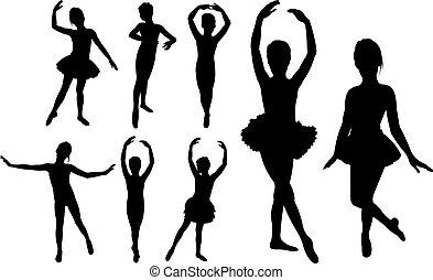 רקדנים, ילדות, בלט, צלליות