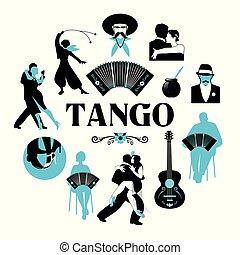 רקדנים, מסביב, tango., סמלי, bandoneon, גיטרה, צלליות, עולם, gauchos