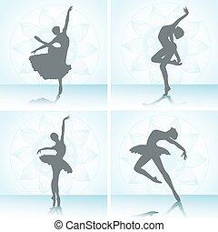 רקדנים, קבע, בלט, silhouettes.
