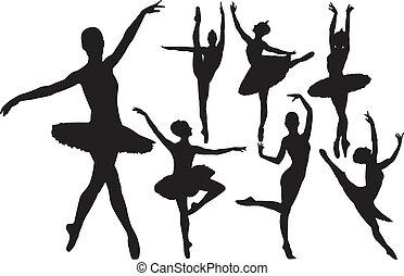 רקדנית בלט, צלליות, וקטור