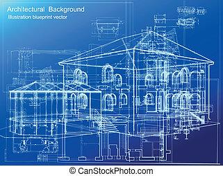 רקע., אדריכלי, וקטור, תוכנית
