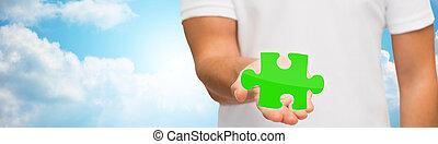 רקע, בלבל, שמיים, ירוק, להחזיק, מעל, איש