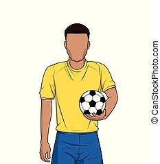 רקע, כדורגל, להחזיק, לבן, כדורגל, או, איש