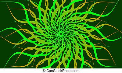 רקע., להסתבב, הסתבב, תקציר, ירוק, תבנית, צבעוני, גלים