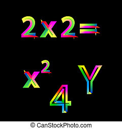 רקע, מואר, שחור, מספרים, צבעוני