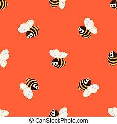 רקע, מצחיק, pattern., מואר, ילדים, צהוב, כועס, תפוז, ציור היתולי, וקטור, דבורות, seamless