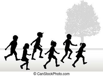 רקע., צלליות, לבן, לרוץ, ילדים