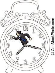 רשום, איש עסקים, עסק, שעון, שרבט, concept., זמן, קוים, הפרד, דוגמה, העבר, רקע., וקטור, שחור, ראטרו, גדול, צייר, לבן, מהר, אזעקה